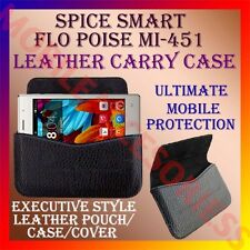 ACM-HORIZONTAL LEATHER CARRY CASE for SPICE SMART FLO POISE MI-451 POUCH COVER
