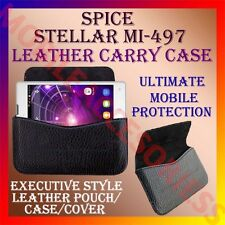 ACM-HORIZONTAL LEATHER CARRY CASE for SPICE STELLAR MI-497 MOBILE POUCH COVER
