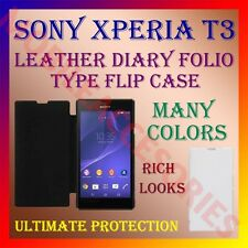 ACM-LEATHER DIARY FOLIO FLIP CASE for SONY XPERIA T3 FULL FRONT & BACK COVER NEW