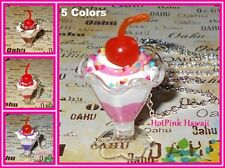 RARE Ice cream Sundae Sprinkle Cherry Top 5 Flavors Silver Necklace USA HANDMADE