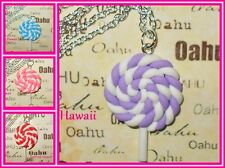 Candy LolliPop on stick Charm Mixed Rope Silver Plated Necklaces USA HANDMADE