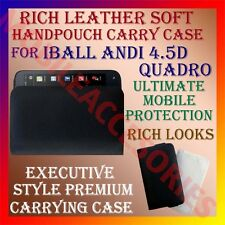 ACM-RICH LEATHER CARRY CASE for IBALL ANDI 4.5D QUADRO MOBILE HANDPOUCH COVER