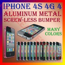 ACM-ALUMINUM BUMPER METAL CASE COVER SCREWLESS FRAME for APPLE IPHONE 4 4G 4S