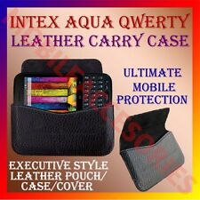 ACM-HORIZONTAL LEATHER CARRY CASE for INTEX AQUA QWERTY MOBILE RICH POUCH COVER