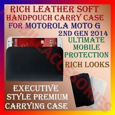 ACM-RICH LEATHER SOFT CARRY CASE for MOTOROLA MOTO G 2ND GEN 2014 POUCH COVER