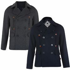 Mens Jacket Bellfield New Wool Blend Peacoat Winter Warm Double Breasted Coat