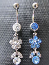 316L Surgical Steel Crystal Flower Dangle Navel Belly Button Ring Bar