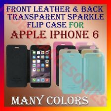 ACM-FRONT LEATHER & BACK TRANSPARENT SPARKLE FLIP CASE for APPLE IPHONE 6 COVER