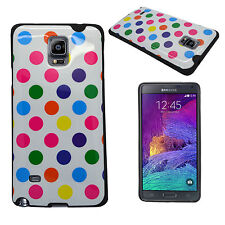 SAMSUNG GALAXY NOTE 4 MULTI POLKA DOT PRINT GEL CASE COVER AND SCREEN PROTECTOR
