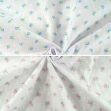 Blooming Tulips Floral Flower Heads White Silhouettes Polycotton Fabric