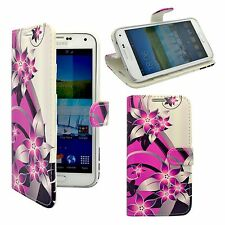 SAMSUNG GALAXY S5 MINI PINK AND CREAM FLOWER PRINTED PU LEATHER BOOK FLIP CASE