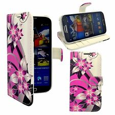 FOR SAMSUNG GALAXY S4 WALLET PINK AND CREAM FLOWER PRINTED PU LEATHER CASE COVER