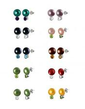 Sterling Silver 925 Freshwater Cultured Button Pearl and Gemstone Earrings