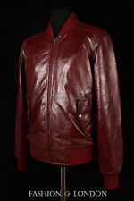 Men's AIRBORNE Oxblood Red Burgundy Lambskin Bomber Real Aviator Leather Jacket