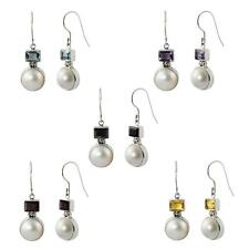 Sterling Silver 925 Mabe Pearl and Gemstone Balinese Earrings