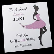 """Personalised Birthday Card Sister Daughter Friend Niece 13th 16th,30th 6 & 8"""" sq"""