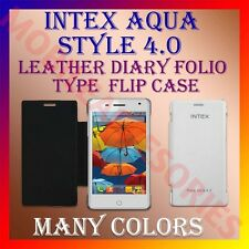 ACM-LEATHER DIARY FOLIO FLIP FLAP CASE for INTEX AQUA STYLE 4.0 MOBILE COVER NEW