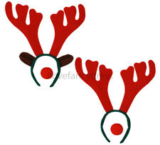 REINDEER ANTLER HEADBAND AND RED NOSE RUDOLPH CHRISTMAS FANCY DRESS COSTUME XMAS