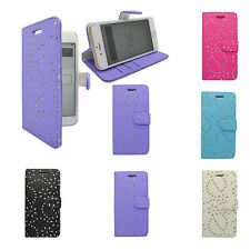 APPLE IPHONE 6 PLUS FLORAL GLITTER DIAMOND BOOK FLIP CASE COVER VARIOUS COLOURS