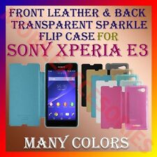 ACM-FRONT LEATHER & BACK TRANSPARENT SPARKLE FLIP CASE for SONY XPERIA E3 COVER