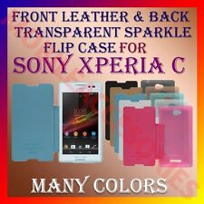 ACM-FRONT LEATHER & BACK TRANSPARENT SPARKLE FLIP CASE for SONY XPERIA C COVER