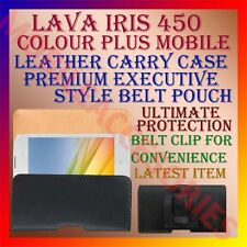 ACM-BELT CASE for LAVA IRIS 450 COLOUR PLUS MOBILE LEATHER POUCH COVER HOLDER