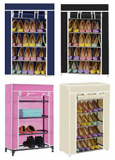 4TIER CANVAS COVER SHOES STORAGE SHELF RACK CUPBOARD SHOE ORGANISER STAND COLOUR