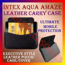 ACM-HORIZONTAL LEATHER CARRY CASE for INTEX AQUA AMAZE MOBILE POUCH COVER HOLDER
