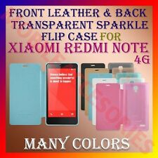 ACM-FRONT LEATHER & BACK TRANSPARENT SPARKLE CASE of XIAOMI REDMI NOTE 4G COVER