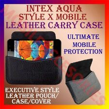 ACM-HORIZONTAL LEATHER CARRY CASE for INTEX AQUA STYLE X MOBILE RICH POUCH COVER