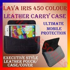 ACM-HORIZONTAL LEATHER CARRY CASE for LAVA IRIS 450 COLOUR MOBILE POUCH COVER