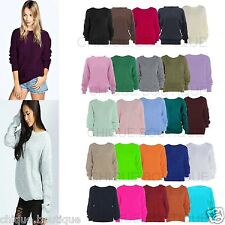 Ladies Baggy Chunky Lot Knitted Long Sleeve Plus  Size Sweater Jumper Top 8-20