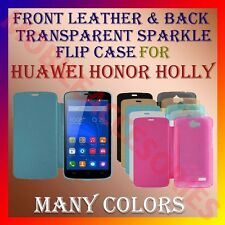 ACM-FRONT LEATHER & BACK TRANSPARENT SPARKLE FLIP CASE HUAWEI HONOR HOLLY COVER