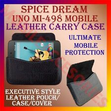 ACM-HORIZONTAL LEATHER CARRY CASE for SPICE DREAM UNO MI-498 MOBILE POUCH COVER