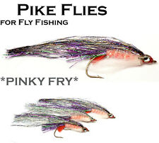 Pike Lures Flies - 3x PINKY FRY (MPF6)- Saltwater & Predator Fly Fishing
