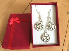 PENTAGRAM EARRINGS NECKLACE GIFT BOX WICCA PAGAN JEWELLERY SILVER METAL NEW AGE