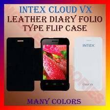 ACM-LEATHER DIARY FOLIO FLIP CASE for INTEX CLOUD VX MOBILE FRONT & BACK COVER