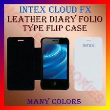 ACM-LEATHER DIARY FOLIO FLIP CASE for INTEX CLOUD FX MOBILE FRONT & BACK COVER