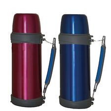 1L LITRE FLASK CAMPING STAINLESS STEEL VACUUM HANDLE HOT COLD THERMOS DRINKS