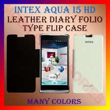 ACM-LEATHER DIARY FOLIO FLIP FLAP CASE for INTEX AQUA I5 HD FRONT & BACK COVER
