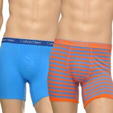 Calvin Klein Mens CK One Boxer Brief, 2-Pack Trunk, Split Stripe Orange/Blue