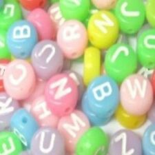 100 Pcs 6.5mm Opaque Colorful Flat Round Alphabet Letter Beads Various Alphabet