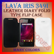 ACM-LEATHER DIARY FOLIO FLIP CASE for LAVA IRIS 349i MOBILE FRONT & BACK COVER
