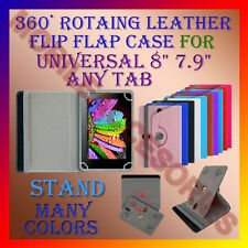 "ACM-ROTATING 360° LEATHER FLIP STAND COVER 8"" CASE for UNIVERSAL 8"" 7.9"" ANY TAB"