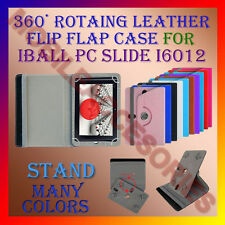 "ACM-ROTATING 360° LEATHER FLIP STAND COVER 7"" CASE for IBALL PC SLIDE I6012 TAB"