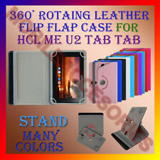 "ACM-ROTATING 360° LEATHER FLIP STAND COVER 7"" CASE for HCL ME U2 TAB TABLET CASE"