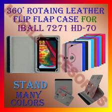 """ACM-ROTATING 360° LEATHER FLIP STAND COVER 7"""" CASE for IBALL 7271 HD-70 TABLET"""
