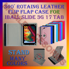 "ACM-ROTATING 360° LEATHER FLIP STAND COVER 7"" CASE for IBALL SLIDE 3G 17 TABLET"