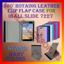 "ACM-ROTATING 360° LEATHER FLIP STAND COVER 7"" CASE for IBALL SLIDE 7227 TABLET"