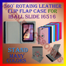 "ACM-ROTATING 360° LEATHER FLIP STAND COVER 7"" CASE for IBALL SLIDE I6516 TABLET"